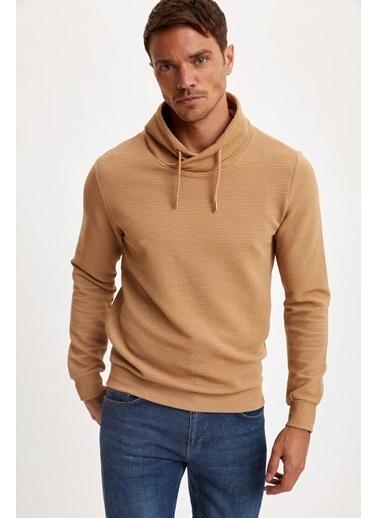 DeFacto Şal Yaka Slim Fit Basic Sweatshirt Bej